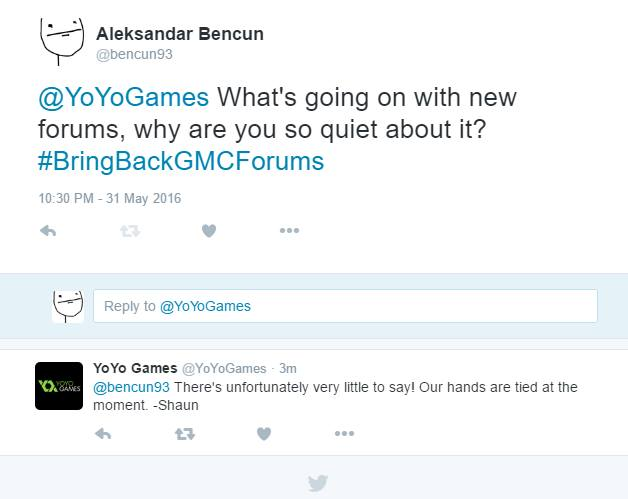 Shaun Spalding of YoYoGames commenting on the delinquent GMC forum upgrade.