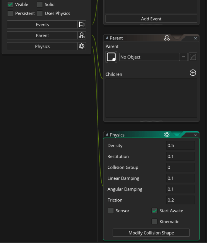 GMS2 Object Editor chain