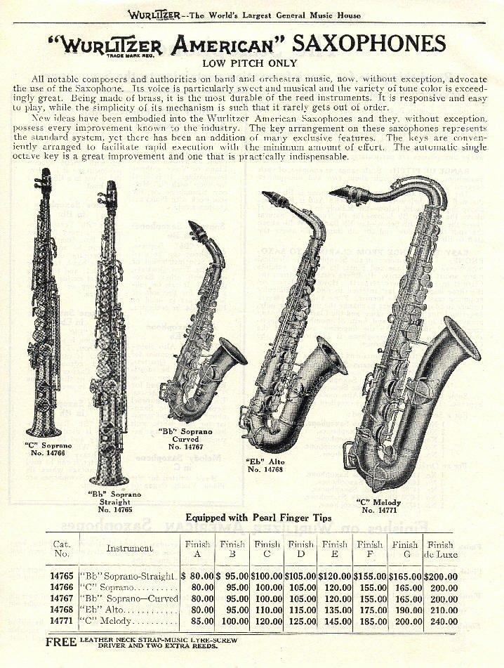 Wurlitzer saxophone info - 1920's