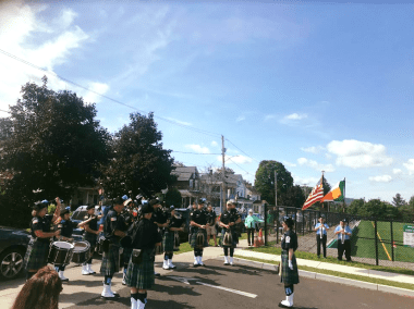field dedication pipe band - Welcome Back
