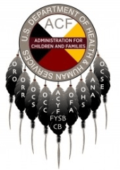 Colorful dreamcatcher with the words inside US Health & Human Services CSBG