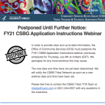 FY21 CSBG Application Instructions Webinar Postponement