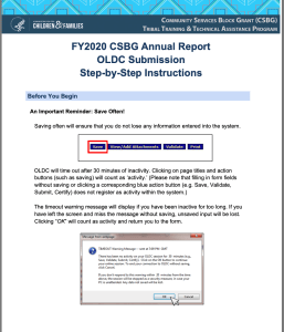 FY2020 CSBG Annual Report OLDC Submission Instructions