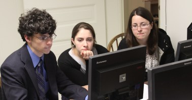 Plugging away: from left, Richard Marmorstein '14, Lauren Revere '17, Jamie White '17.