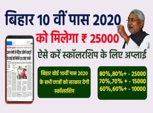BIhar 10th pass scholarship apply 2020