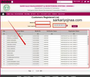 SSMMS Portal Customer registered List