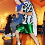 Will Troester, 24, junior of Crawford, swings Rayna Waggener, 19, sophomore of Alliance, during the Halloween NOCS at the Chadron Arts Center Friday. — Photo by Vera Ulitina