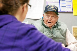 Chuck Canaday, 91, native of Chadron, speaks to an interviewer from The Eagle while recollecting the 70-year anniversary of Pearl Harbor- Photo by T.J. Thomson.