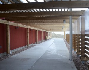 An outdoor walkway of the Rangeland  Management Center on the North Side of the building. —Photo by Teri Robinson