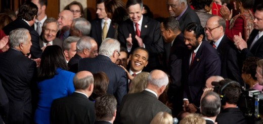 United States President Barack Obama greets Members of Congress as he arrives in the House Chamber at the U.S. Capitol in Washington, D.C., to deliver the 2012 State of the Union address. —Photo by Chuck Kennedy via Wikimedia Commons