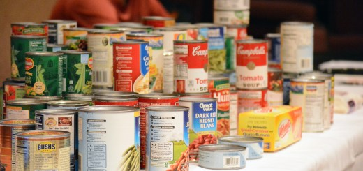 Participants in Monday's Oxfam Hunger Banquet brought canned food items to donate to one of many food pantries in —Photo by Jordyn Hulinsky