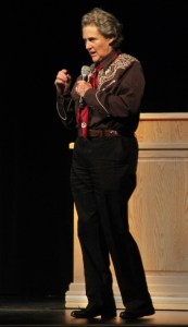 Temple Grandin, a professor of animal science at Colorado State University, Fort Collins, speaks to CSC students and community members Thursday, in the auditorium of Memorial Hall.  —Photo by Janelle Kesterson