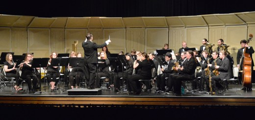 CSC Wind Symphony directed by Sidney Shuler, perform its last concert of the year, Monday in the Memorial Hall Auditorium. —Photo by Melanie Nelson