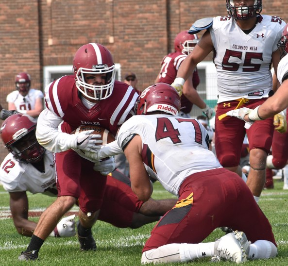 Jackson Dickerson (18), redshirt sophomore of Chadron, runs the ball against Tom Saager (47), junior of Centennial, Colorado, and Colorado Mesa's defense during Saturday's game at Elliott Field.