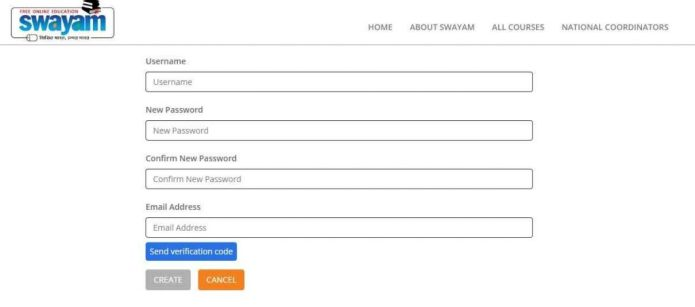 Swayam Portal registration form