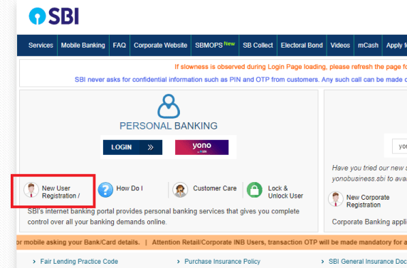 SBI Internet Banking new registration