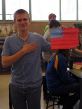 Ryan proudly pledges allegiance to his creation.