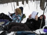 Maxim (in the back), Cassidy, and Jaimeson read an excerpt from Into the Wild.