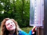 Mary checks ot the levels from last night's rain