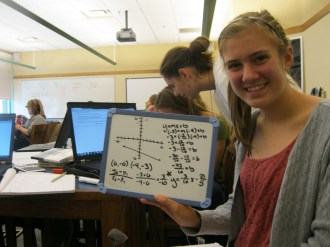 "Heidi ducks and dives and graphs the equation of a line. ""Voila!"""