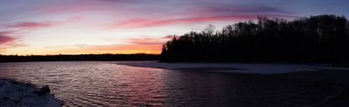 Sunset after school over the ice