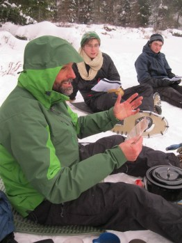 History teacher Michael Salat prepares a batch of hot cocoa for the Antarctic explorers.