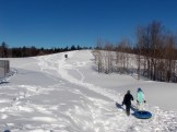 walking to the sledding hill