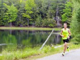 Picking up the pace for the final 500 meters, along Little Donahue Lake
