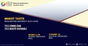 Série de Conférences - Margit Tavits @ Salle de bal, Thomson House, McGill