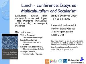 Lunch - Presentation: Essays on Multiculturalism and Secularism @ Room C-3151, Lionel-Groulx Building, Université de Montréal