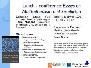 Lunch - Presentation: Essays on Multiculturalism and Secularism @ Room C-3151, Lionel-Groulx Building, Université de Montréal