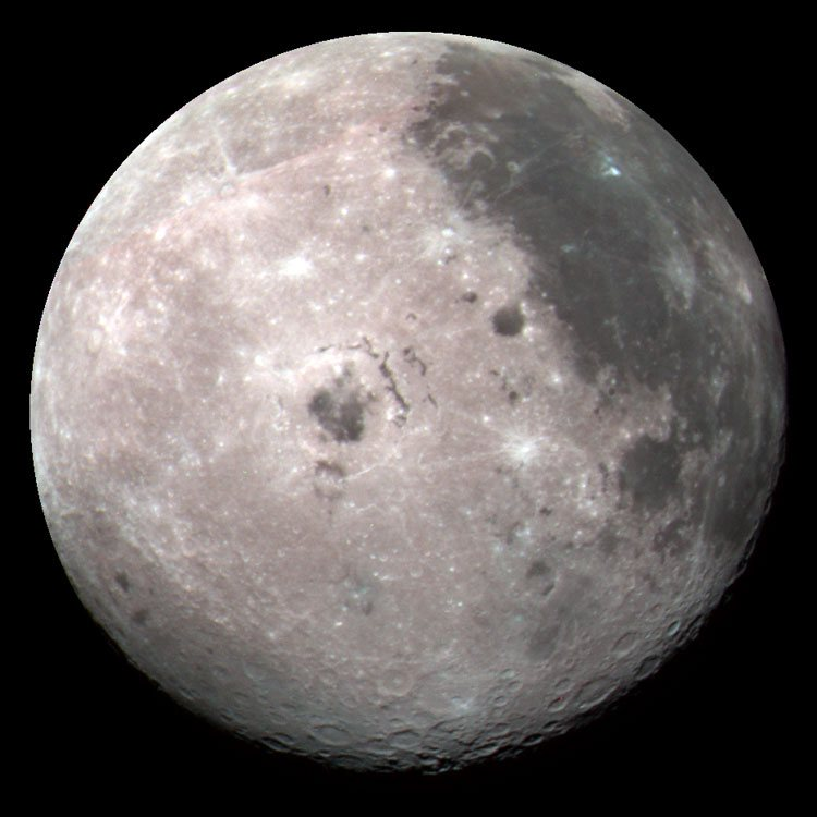 Exaggerated-color image of the Moon taken by the Galileo spacecraft, centered on Mare Orientale
