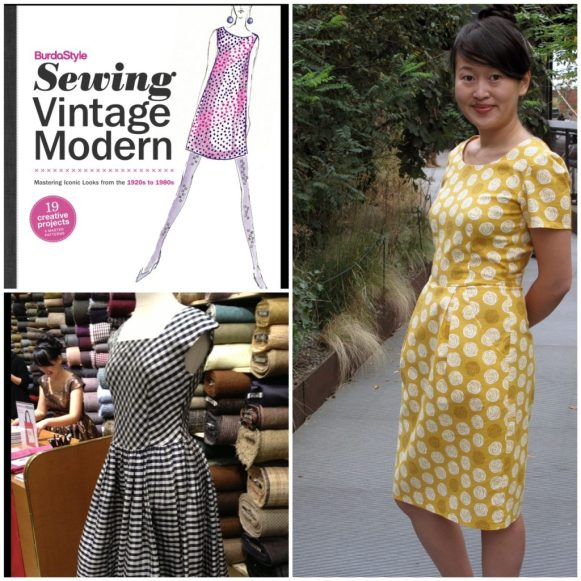 Jamie Lau in one of her designs, and a dress featured in the book BurdaStyle Sewing Vintage Modern