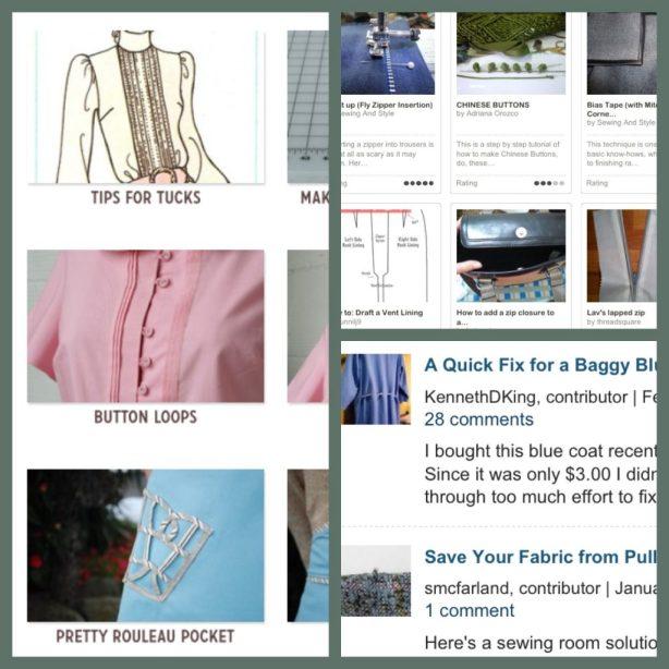Colette Patterns tutorials (left), BurdaStyle techniques, Threads Magazine How-to