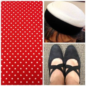 Details of the fabric and the hat and shoes I wore