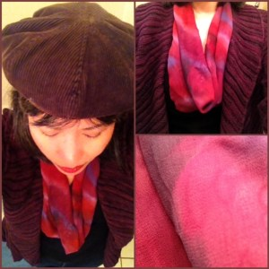 Day 27: I made this mini-infinity scarf from this silk remnant. Hat: corduroy cap from the Gap.