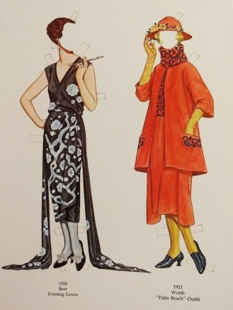 "Evening gown by Beer (1920) and ""Palm Beach"" outfit by Worth (1921)"