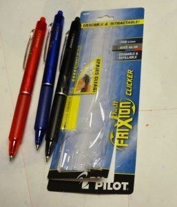 My Pilot Frixion Clicker Eraseable Pens