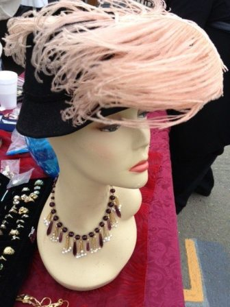 Vintage hat trimmed with ostrich feathers