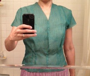 Checking fit of 1940s Girl Friday blouse