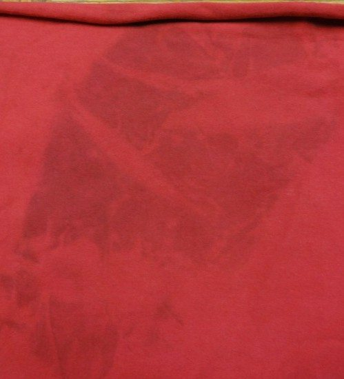 Stain on my red knit fabric from prewashing