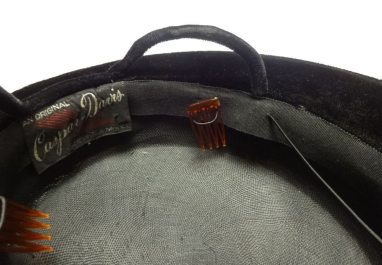 vintage black hat with combs - csews.com