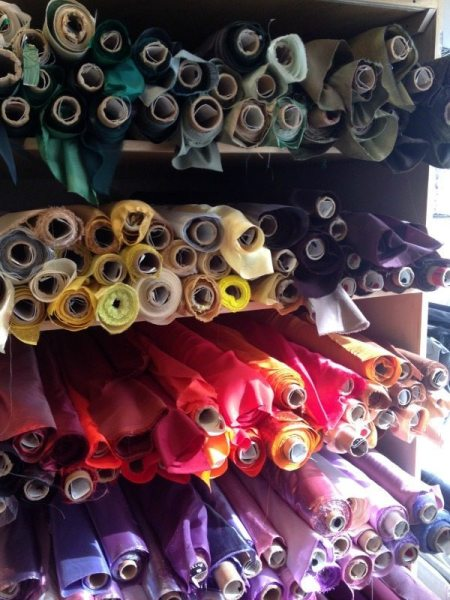 rolls of fabric at Britex Fabrics - csews.com