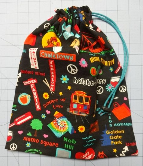 Tutorial: How to make drawsstring shoe bag - finished bag - DIY - CSews.com