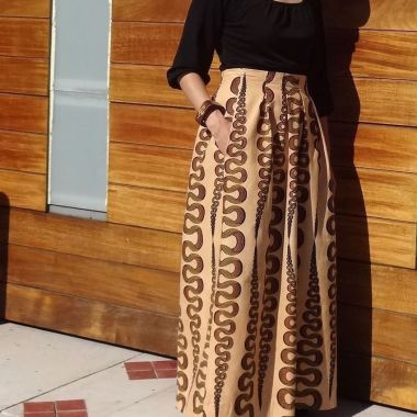 Maxi skirt with African wax print