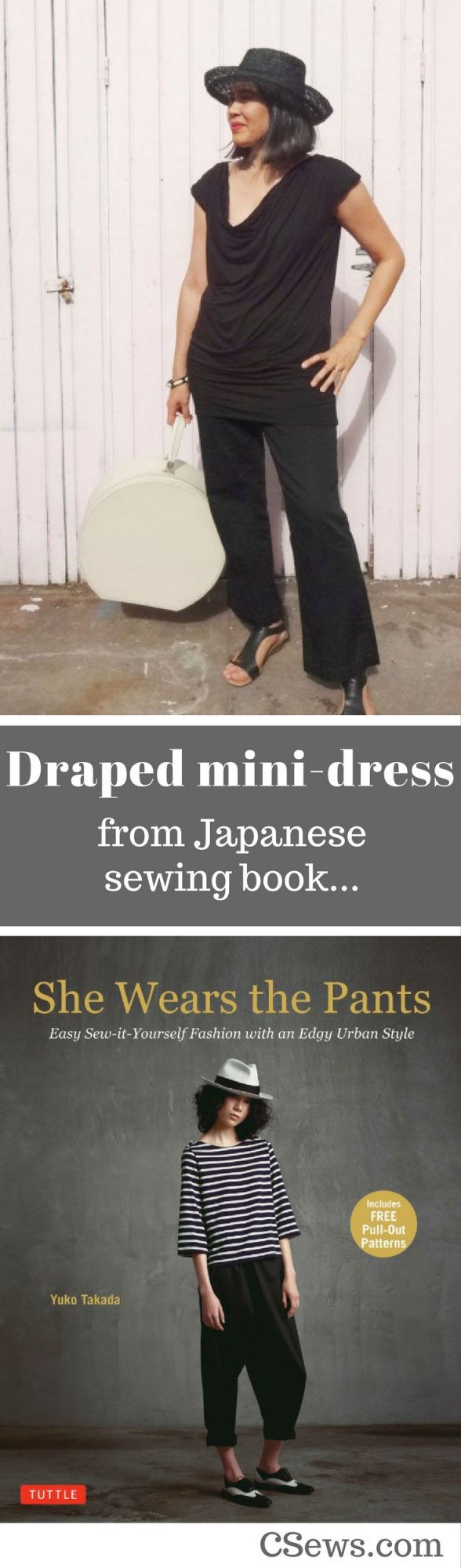 Draped mini-dress from Japanese sewing book She Wears the Pants