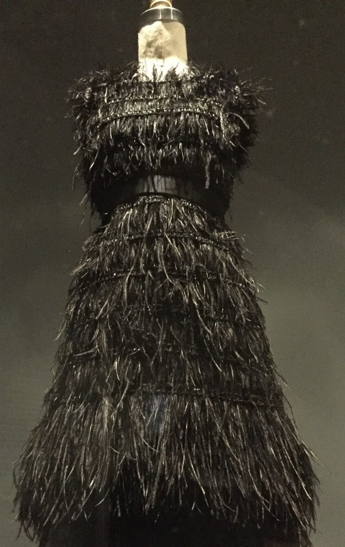 Manus x Machina - Chanel - haute couture - black silk tulle, hand-embroidered by Lemarié with hand-glued and stitched black ostrich feathersblack