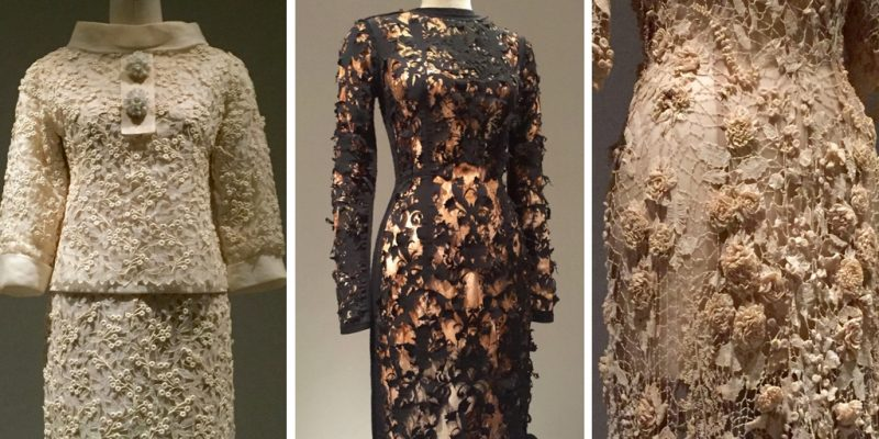 Manus x Machina - Saint Laurent suit, 1963; Marion Schwab Golden Lily Dress, 2008-09; Irish wedding dress, ca. 1870