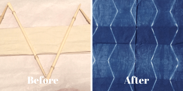 DIY Shibori - indigo dyeing - placing chopsticks at an angle