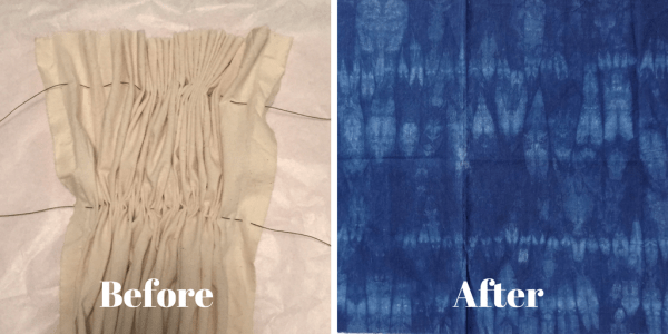DIY Shibori - indigo dyeing - hand-basting and gathering fabric